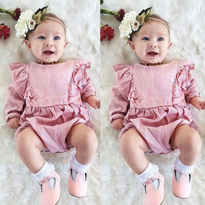 UK Lovely Newborn Kids Baby Girls Long Sleeves Ruffle Romper 1PC Outfit Clothes
