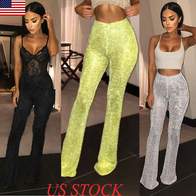 Womens Black Lace Indie Gothic Retro Rock /& Roll 70s Flare Bell Bottom Pants