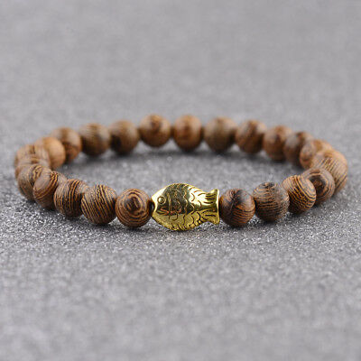 Fashion Multilayer Gold Fish Wooden Beaded Women Mens Bracelet Lucky Bangle