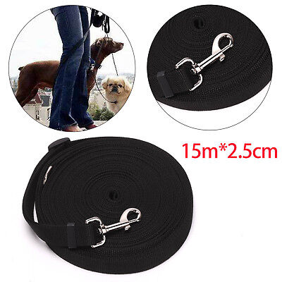 Black Pet Dog Training Lead 15M 50FT  Long Line Collar Harness Extending Leash