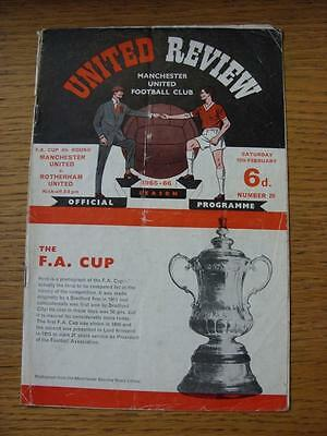 12/02/1966 Manchester United v Rotherham United [FA Cup] (Folded, Creased, Torn,