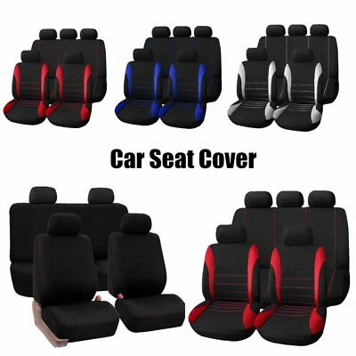 9x Universal Car Seat Covers Full Set Front&Rear Seat Back Head Rest SS