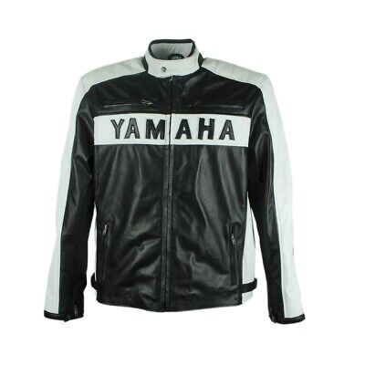 Yamaha black Motorcycle Leather Jacket For Men Cafe Racer