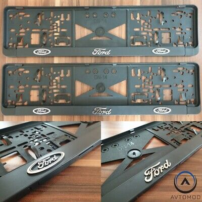 2x 3D Number Plate Surround Frame Holder Pair Ford Ka Kuga Focus Mondeo ST RS