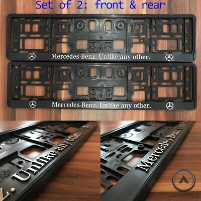 2x 3D Number Plate Surround Frame Holder Pair Mercedes Benz C E S GLA GLE AMG