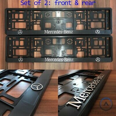 2x 3D Number Plate Surround Frame Holder Pair Mercedes Benz C E S GLA GLE GL
