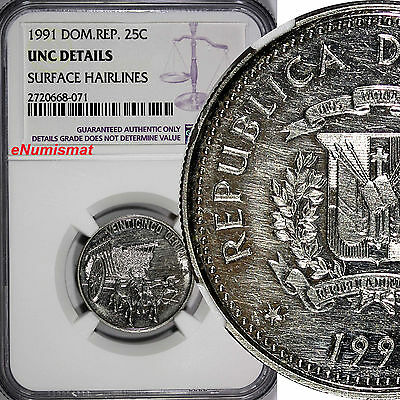 DOMINICAN REPUBLIC 1991 25 Centavos NGC UNC DETAILS Native Culture KM# 71.1