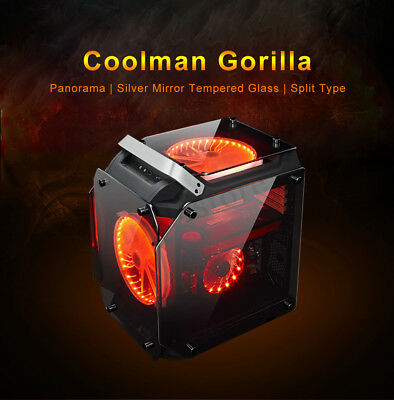 Coolman Gorilla Glass Gaming Computer PC Case ATX Mid Tower w/ 3 Color LED Fans