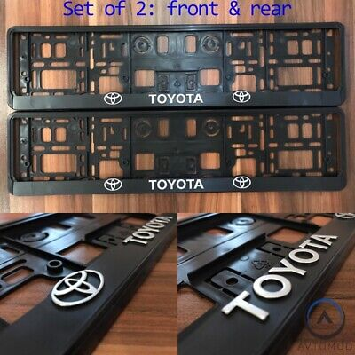 2x 3D Number Plate Surround Frame Holder Pair Toyota Yaris Corolla Avensis C-HR