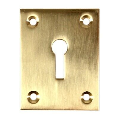 RECTANGULAR KEYHOLE ESCUTCHEON COVER + SOLID BRASS + Large Door Plate/Face Cover