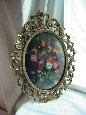 Vintage Oval Floral Bouquet Picture with Curved Glass 13 inch