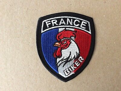 F314 // Ecusson Patch Aufnaher Toppa / France Biker Coq - 5.5*8 Cm