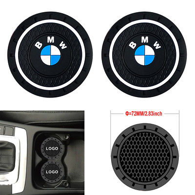 2PCS 2.8'' 72MM Silicone Car Logo Cup Holder Travel Auto Insert Coaster Can BMW