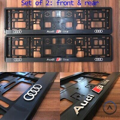 2x 3D Number Plate Surround Frame Holder Pair Audi a3 a4 a5 a6 s3 s4 s5 q5