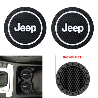 2PCS 2.8'' 72MM Silicone Car Logo Cup Holder Travel Auto Insert Coaster Can Jeep