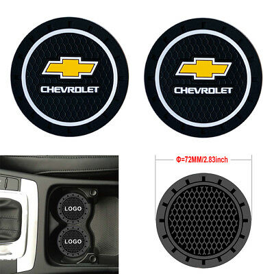 2PC 2.8'' 72MM Silicone Car Logo Cup Holder Travel Auto Insert Coaster Chevrolet