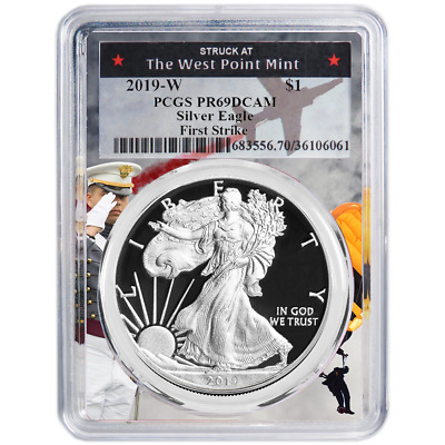 2019-W Proof $1 American Silver Eagle PCGS PR69DCAM FS West Point Frame