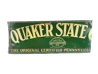 RARE & SCARCE 1930's Early 29 x 12 Embossed Metal QUAKER STATE OIL Dealer Sign