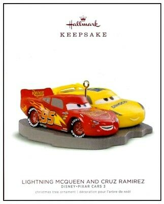 2018 Hallmark Disney Pixar Cars 3 Lightning McQueen and Cruz Ramirez Ornament!