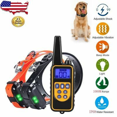 Rechargeable LCD Anti-Bark Electric Shock E-Collar Dog Training Remote Control