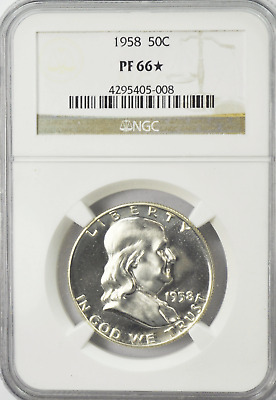 1958  50c Franklin Proof Silver Half Dollar Fifty Cents NGC PF66* Star Coin