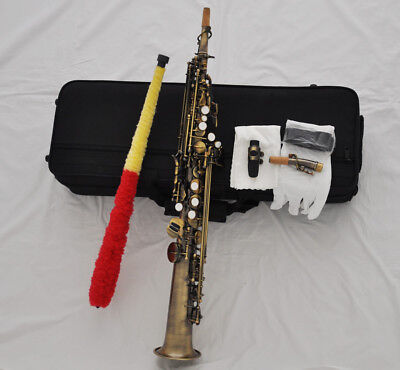 Top new antique Bb straight soprano saxophone high F G key Sax with case