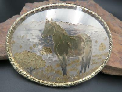 Western Cowboy Rodeo Silver Gold Horse Mountain View Belt Buckle Made in USA