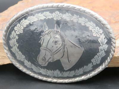 Western Cowboy/Girl Rodeo Silver Black Horse Belt Buckle Made in USA