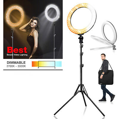 "Photography Dual Color Dimmable Adjustable LED Ring Light 18"" for Photo Studio"