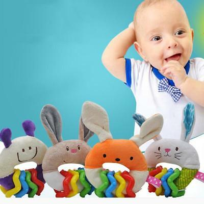 Newborn Toddler Baby Teething Plush Rattle Teether Ring Soft Teether Crib Toy DS