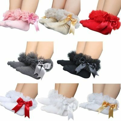1 Pair Baby Tutu Frilly Short Cotton Socks Bow Girls Infant Newborn Lace Cute sz