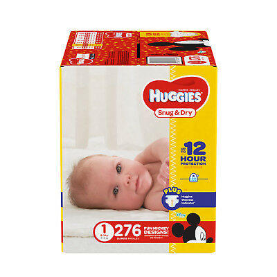 Huggies Snug & Dry Baby Diapers Disposable Diapers Size 1 ( 276 CT )