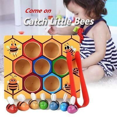 Preschool Wooden Clip Bee Out Box Montessori Educational Toy Games Gift DS