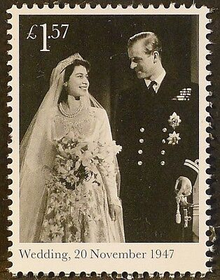 QEII & Duke of Edinburgh Wedding (1947) on 2017 stamp - U/M