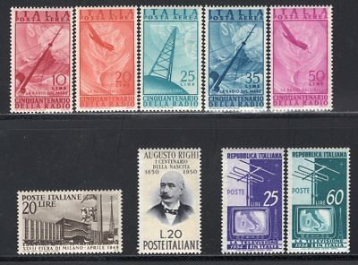 Italy 1947-54 Group of 9 Good Stamps MNH CV$43