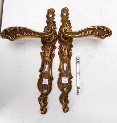 1st Pair of Stylish Vintage French Solid Brass Door Finger Plates & Handles #1