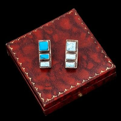 Antique Vintage Sterling Silver Navajo Native Mexican Taxco Turquoise Earrings