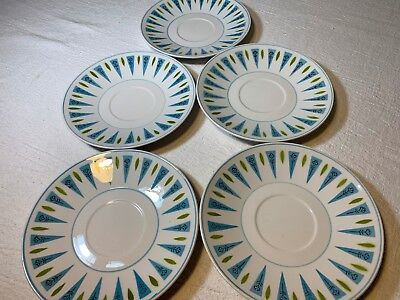"""Lot of 5 Vintage Mikasa Cera Stone Blue Point 6 1/4"""" Saucers   Free Shipping !!"""