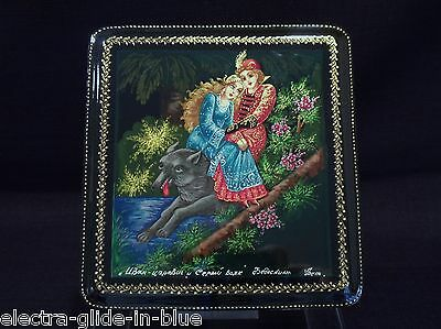 Russian Hand Painted Wolf Princess Table Top Lacquer Box Signed