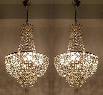 A Pair of Antique French Empire Style Brass & Crystals LARGE Chandeliers from 19