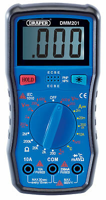 Draper 41818 Digital Multimeter Tester Ac/Dc Test Leads And Temp Probe