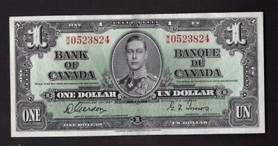 Bank of Canada 1937 $1 One Dollar Gordon-Towers (WP) M/M Prefix - BC-21c