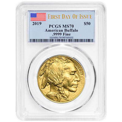 2019 $50 American Gold Buffalo PCGS MS70 FDOI Flag Label