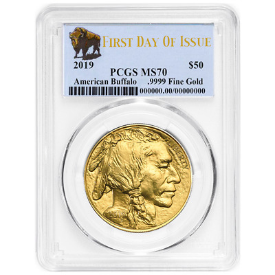 2019 $50 American Gold Buffalo PCGS MS70 FDOI Buffalo Label