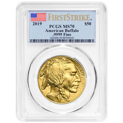 2019 $50 American Gold Buffalo PCGS MS70 First Strike Flag Label
