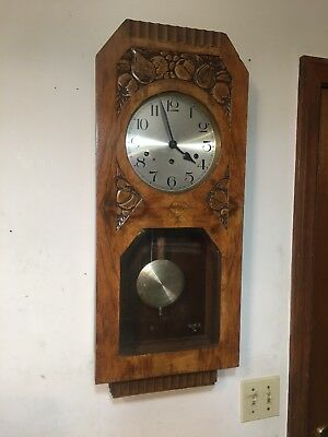 Antique Carved Art Deco Kienzle Wall Clock Fruit Motif Westminster Chime