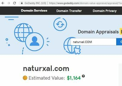 NATURxAL™ > dot com registered Domain Has a present GoDaddy value of $1,164.00