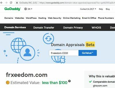 FRxEEDOM™ > dot com registered Domain Present GoDaddy value less than $100.00