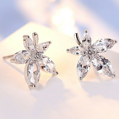 Sweet Style Stamped White Gold Cute Maple Leaf Weed Studs Earrings LG