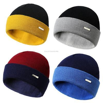 Unisex Winter Soft Warm Casual Contrast Color Wool Knitted Hat EN24H